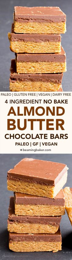 No Bake Paleo Chocolate Almond Butter Bars (V, GF, Paleo): a 4-ingredient no bake recipe for thick, decadent almond butter bars topped with chocolate. #Vegan #Paleo #GlutenFree #DairyFree | BeamingBaker.com