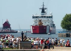 "Arrival of the ""Great Lady"" (USCG icebreaker Mackinaw) at Grand Haven  Coast Guard Festival"
