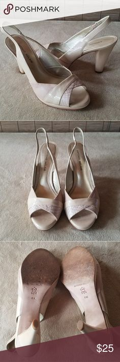 """Antonio Melani Cream Beige Heels Two tone open toe sling back stretch strap for perfect fit. Size 8 with 3.5"""" heels in good used condition. ANTONIO MELANI Shoes Sandals"""