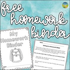Free Homework Binder by Pathway 2 Success Homework Binder, Homework Log, Teacher Binder Organization, Autism Activities, School Levels, Study Skills, Book Authors, Teaching Math, Pencil Pouch