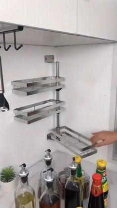 Kitchen Wall Storage, Kitchen Pantry Design, Modern Kitchen Design, Home Decor Kitchen, Interior Design Kitchen, Storage For Small Kitchen, Kitchen Shelf Organizer, Small Kitchen Decorating Ideas, Diy Kitchen Ideas