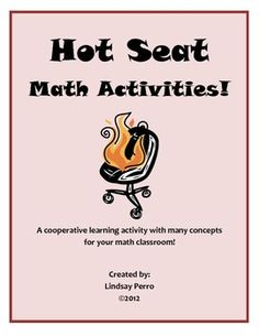 Who is in the Hot Seat? This cooperative learning activity has students practice 8 different concepts while playing a game. Students are given a ma. Cooperative Learning Activities, Math Activities, Math Games, Maths Resources, Learning Games, Math Teacher, Teaching Math, Teaching Ideas, Kindergarten Math