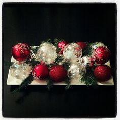 DIY Christmas ornament centerpiece