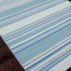 Sea Blues Stripe Dhurrie Rug