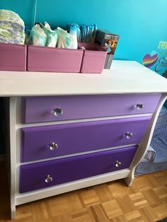 DIY ombré white and purple dresser. Matrix glass knobs. IKEA drawer bins. Girls room.