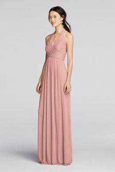 Extra Length Long Mesh Halter Bridesmaid Dress with Pleated Bodice - Ballet (Pink), 30