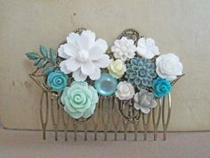 White Flower Hair Comb Blue Mint Turquoise Wedding by Jewelsalem