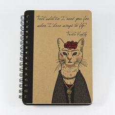 Gato portátil Frida Kahlo citar, espiral atado pequeño cuaderno