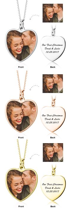 Customize Color Photo and Engraved in Love Heart Pendant Necklace in Sterling Silver/14K Gold 2017 hottest write name on jewellery. Come to Yafeini to pick your beloved Personalized necklace https://www.jewelrypersonalizer.com