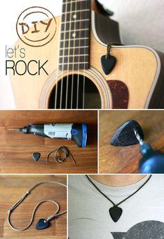necklace, guitar, DIY, pick