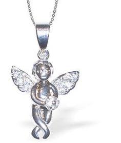 Pave Crystal Cute Cherub Necklace
