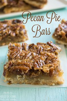This Pecan Pie Bar is the perfect laidback version of it's cousin the pie. P… This Pecan Pie Bar is the perfect laidback version of it's cousin the pie. Pecan Pie filling on top of a flaky, sugar cookie type crust. Pecan Recipes, Cookie Recipes, Dessert Recipes, Recipe For Pecan Pie Bars, Bar Recipes, Just Desserts, Delicious Desserts, Yummy Food, Pecan Desserts