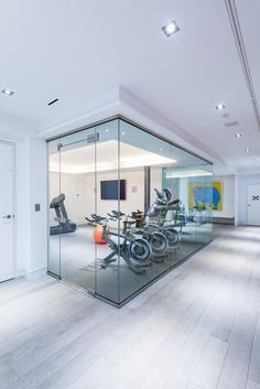 A custom built in-home gym that is encased glass// Makow Architects// Buena Vista Development Home Decor Furniture, Accent Furniture, Home Gym Flooring, Toronto, At Home Gym, Studio, French Doors, Living Spaces, Floor Plans