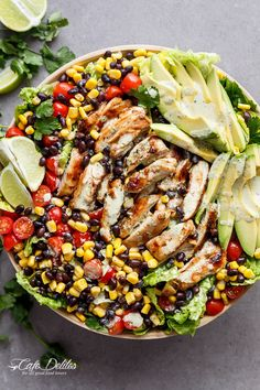 A Chili Lime Southwestern Chicken Salad with a low fat and CREAMY Cilantro Chili Lime Dressing that doubles as a marinade! | http://cafedelites.com Avocado Chicken Salad, Dinner Salads, Healthy Salads, Healthy Food, Healthy Eating, Lime Dressing, Cilantro Dressing, Diet Recipes, Best Salad Recipes
