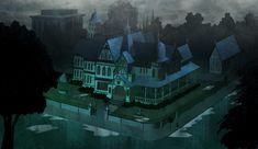 "Stephen Nicodemus: More Scooby Doo Mystery Inc Background Art ""Shrieking Madness"""
