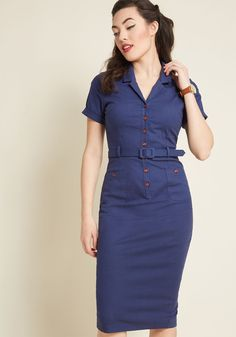 Ahh, the fashionable finesse of bygone times! You embody just what made those decades special while decked out in this navy sheath dress - an incredible. 1950s Fashion Dresses, Vintage 1950s Dresses, Cheap Boutique Clothing, Fashion Boutique, 50s Outfits, Leotard Fashion, Discount Womens Clothing, Feminine Dress, Luxury Dress