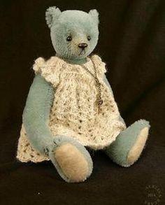 Image of Good Charlotte, OOAK Blue Mohair Artist Teddy Bear Girl from Aerlinn Bears