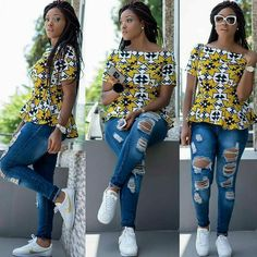Ladies Ankara Tops For Jeans, ankara top styles with Jean shorts, ankara too with Jean trousers, perfect Ankara tops design for ladies, hot Ankara styles for jeans to match African Fashion Designers, African Fashion Ankara, Ghanaian Fashion, African Inspired Fashion, African Print Dresses, African Dresses For Women, African Print Fashion, Africa Fashion, African Attire