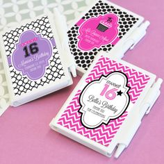 Sweet Sixteen Personalized Notebook Favors (Event Blossom EB2045Z) | Buy at Wedding Favors Unlimited (http://www.weddingfavorsunlimited.com/sweet_sixteen_or_15_personalized_notebook_favors.html).