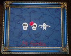 Custom pet or family portrait skull figure mixed media art personalized art for your pets and family. Great gift idea $30 and upwards, multiple sizes and colours