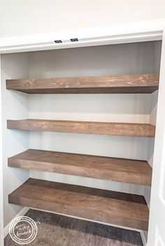 Replace your Ugly Wire Shelves with Wood Floating Shelves [DIY] linen closet floating shelves Diy Bathroom, Bathroom Shelves, Bathroom Ideas, Design Bathroom, Bathroom Organization, Bathroom Storage, Bathroom Linen Closet, Pantry Makeover, Pantry Diy