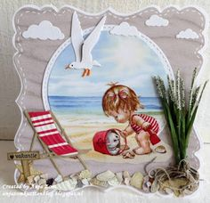 handmade summer beach card from Anja Zom map Blog ... luv the gull, cloud and shell die cuts ... adorable beach scene decoupage print . delightful card ...