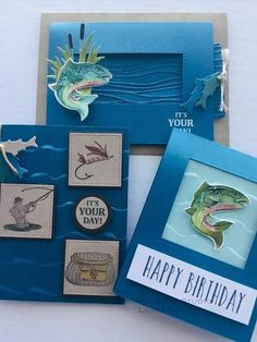 Best Catch Stamp set & water-like embossing folder. Masculine Birthday Cards, Birthday Cards For Men, Handmade Birthday Cards, Masculine Cards, Greeting Cards Handmade, Scrapbooking, Scrapbook Cards, Card Tags, I Card