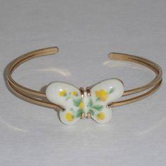 Vintage Butterfly Bracelet Cuff Yellow Flowers on by 4dollsintime, $18.00