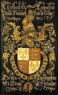 Wapenbord van Eduard IV (1442-83), koning van Engeland, in zijn hoedanigheid van ridder in de orde van het Gulden Vlies. Ca. 1481. 's-Hertogenbosch, Noordbrabants Museum.