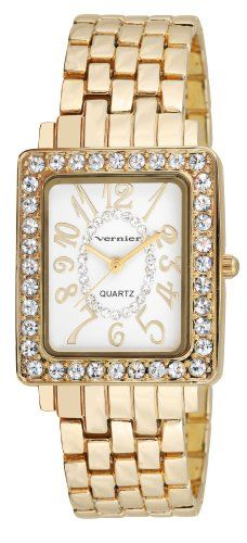 Ladies Rectangle Gold-Tone Sparkle Quartz Watch Yellow Gold. This Classic style women's wrist watch is an essential to every collection. A gold tone link bracelet compliments the rectangle case. The bezel is incrusted with crystal stones surrounding a beautiful mother of pearl dial that contains an inner circle of additional crystal stones.