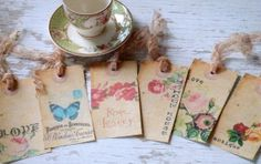 Rose tags - shabby chic tags - love - roses - butterfly - papillon - flowers - embellishments - vintage inspired