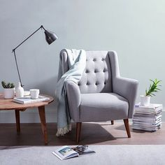 Abel Armchair, Light Grey/Charcoal- Exude mid-century style when you recline in the refined comfort of the classic Abel Light Grey Black Button Armchair from Zanui. Furniture, Room, Small Armchair, Interior, Home, Arm Chairs Living Room, Lounge Room, Comfy Armchair, Room Chairs