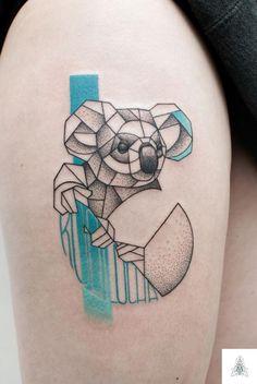 tatouage couleur geometrique traits koala