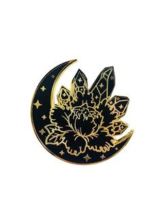 Black and Gold Moon Crystal Peony Lapel Pin Flower Crystals