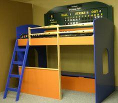 Baseball Loft Bed (with dugout) Baseball Room Decor, Baseball Bed, Baseball Dugout, Pirate Bedding, Kids Bedroom, Bedroom Ideas, Bed Ideas, Kids Rooms, Loft Style