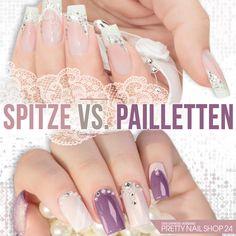 #nails #spitze #pns24 #pailetten Zarte Spitze oder schillernde Pailletten? Das ist der Contest zwischen zwei absoluten Glamour-Queens. Und für wen stimmst Du? Eure Martina