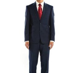 Rivelino Men's Cobalt Blue Micro-Stripe Slim Fit Wool Two Piece Suit, Size: 48R