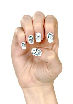 Hot Man-icure...Ryan Gosling, Zac Efron, Pharrell WIlliams for your nails! Love it, and they're artsy enough to not look to0 celeb stalker.