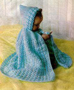 "BABYS HOODED CAPE Crochet Instant Pattern - Fits 18""-19"" - Babies Girls Boys - Vintage Digital Download Immediate Pdf - Kenyon 0412 by KenyonDownloadBooks on Etsy https://www.etsy.com/listing/184981423/babys-hooded-cape-crochet-instant"