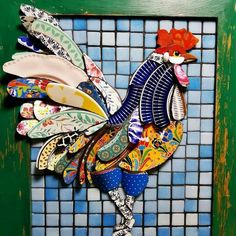 This is an awesome mosaic, but imagine it as a quilt! Mosaic Artwork, Mosaic Wall Art, Mosaic Diy, Mosaic Garden, Mosaic Crafts, Glass Wall Art, Mosaic Projects, Stained Glass Art, Tile Art