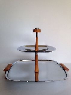 Vintage Glo-Hill Two Tier Tray Amber Bakelite Chrome Mirror