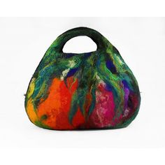 Felted Bag Handbag Purse wild Felt Nunofelt Nuno felt Silk black noir purple rainbow fairy multicolor floral fantasy