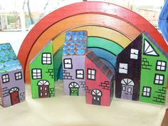 These miniature wooden houses are made from scraps of pine timber which we picked up from Reverse Art in Ringwood.