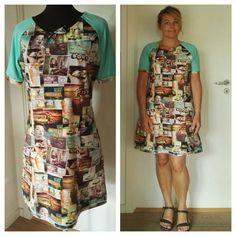 2017 Jersey kjole med digital print. Lommer med tittebånd. Snøre i halsen.