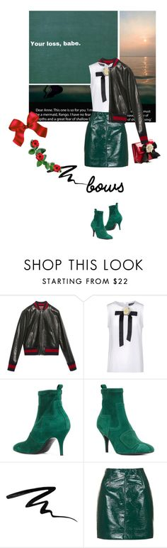 """""""Put a Bow on It!"""" by lacas ❤ liked on Polyvore featuring Gucci, Dolce&Gabbana, Pierre Hardy, Too Faced Cosmetics, Topshop, Moschino and bows"""