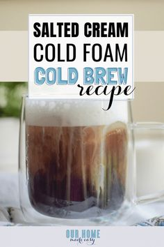 Love the new Salted Cream Cold Foam Cold Brew? Make it home really easily with this copycat recipe! Save money & pour in all the cold foam you want! Starbucks Sweet Cream, Starbucks Caramel, Starbucks Recipes, Starbucks Drinks, Coffee Recipes, Starbucks Coffee, Coffee Drinks, Coffee Coffee, Coffee Shop