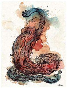 Bearded Serpent by Leviathan League Beard Illustration, Artist Inspiration, Art For Art Sake, Beard Art, Human Art, Drawings, Art, Man Illustration, Beard Cartoon