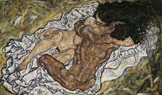 1917, Embrace, Egon Schiele (Austrian 1890-1918) , Expressionism, Belvedere Gallery Vienna, Austria