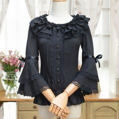 S/S Lolita Shirts Sweet Japanese Seven Sleeved Chiffon Lace Shirts/Blouse Taobao Lolita Brand Online Shop,Sweet Lolita Blouse Sale Kurti Sleeves Design, Sleeves Designs For Dresses, Salwar Designs, Blouse Designs, Abaya Fashion, Fashion Dresses, Mode Lolita, Gothic Lolita Dress, Stylish Blouse Design