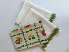 Vintage cotton / linen kitchen towels tea towels set of 1500 x 1125 jpeg Linen Towels, Cotton Towels, Tea Towels, Cotton Linen, Yellow Stripes, Striped Linen, Vintage Cotton, Kitchen Towels, Exterior Design